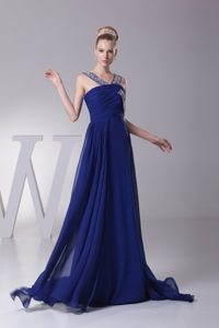 Beaded and Ruched Chiffon Formal Evening Dresses with Sweep Train for Cheap
