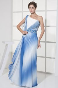 Blue and White One Shoulder Beaded Informal Evening Dress on Wholesale Price