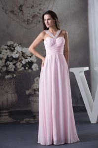 Beaded V-neck Ruched Pink Formal Evening Dresses with Side Zipper for Cheap