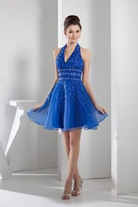 Mini-length Blue Organza Cocktail Evening Dress with Beading and Layers in 2014