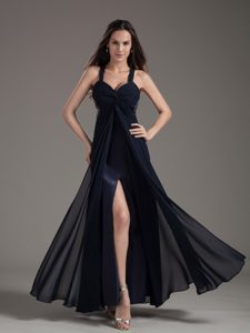 Beautiful Beaded Empire Ankle-length 2014 Informal Evening Dress with High Slit