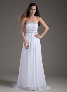 White Empire Strapless Chiffon Beaded Formal Evening Dresses with Brush Train
