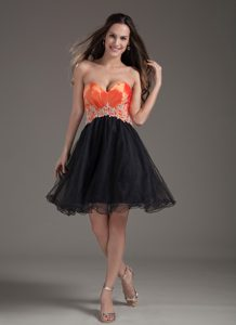 Orange Red and Black A-line Sweetheart Mini-length Organza Evening Wear Dress