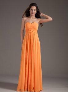 Beautiful Orange Sweetheart Ruched Empire Formal Evening Dresses for Cheap