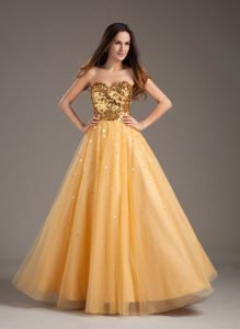 Luxurious A-line 2013 Sweetheart Gold Tulle Semi-formal Evening Dress for Cheap
