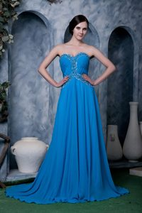 Blue Empire Sweetheart Chiffon Beaded Formal Evening Dress with Brush Train
