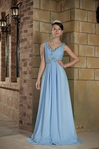 Light Blue Straps Chiffon Beaded Evening Dress with Brush Train on Sale