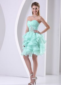 Stylish Apple Green Ruffled Sweetheart Ruched and Beaded Prom Cocktail Dress