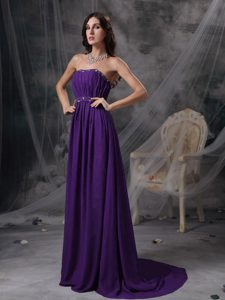 Discount Purple Empire Strapless Beaded and Ruched Prom Dress on Promotion