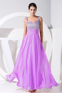Popular Lavender Beading Decorated Straps Ankle-length Prom Dress for Cheap
