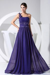 One Shoulder Purple Chiffon Prom Dress with Beading and