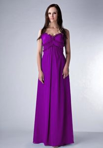 2013 Popular Purple Empire Straps Chiffon Prom Formal Dress on Wholesale Price