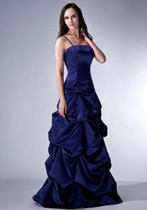 Cheap Navy Blue Beaded Prom Dress with Spaghetti Straps and Pick-ups