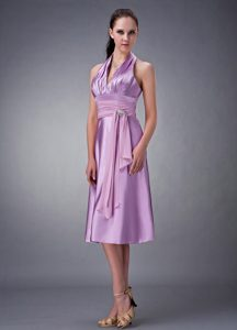 Lavender Empire Halter Top Prom Dress with Beading and Ruching on Promotion
