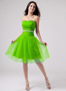 Beaded Strapless A-line Knee-length Green Prom Homecoming Dress for Cheap