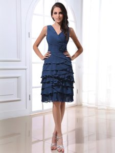 Simple V-neck Prom Dress with Ruffled Layers and for Cheap