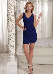 Deep Blue V-neck Mini-length Ruched Prom Homecoming Dress for Custom Made
