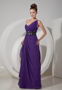 Sweet Purple One Shoulder Chiffon Prom Dress with Beading and Ruches