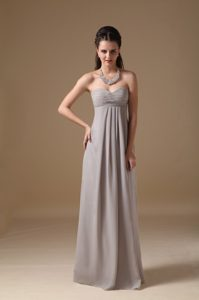 Simple Grey Empire Sweetheart Chiffon Ruched Prom Bridesmaid Dress for Cheap