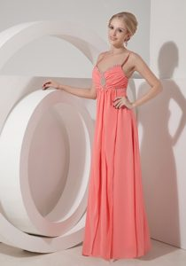Elegant Watermelon Red Chiffon Prom Dresses with Beading and Ruching on Sale