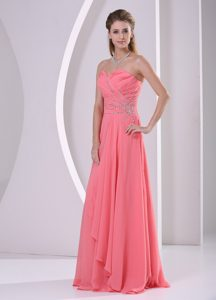 Watermelon Red Sweetheart Beaded and Ruched Chiffon Dresses for Prom Party