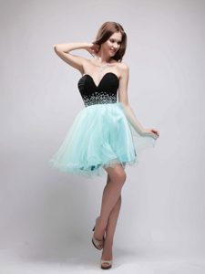 Black and Apple Green Sweetheart Organza and Chiffon Beaded Prom Gown Dress
