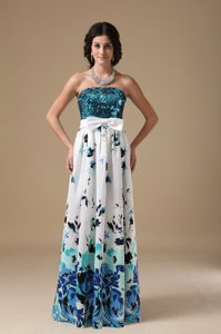 Special Empire Strapless Printed Prom Homecoming Dress with Sequins on Sale