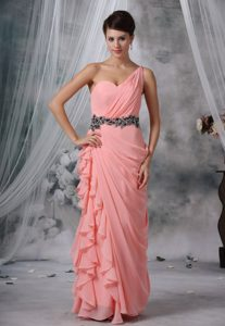 Beaded and Ruched One Shoulder Pink Chiffon Prom Evening Dresses for Cheap