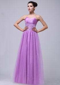 2013 Lavender Beaded and Ruched Sweetheart Prom Pageant Dress with Tulle