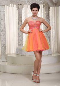 Beautiful A-line Sweetheart Mini-length Organza Beaded Prom Cocktail Dresses