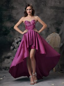 Sweetheart High-low Prom Homecoming Dress with Appliques for Women