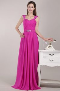 Popular Chiffon Straps Beading Prom Evening Dresses with Ruches in Hot Pink