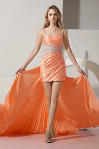 Beautiful Straps High-low Beading Prom Evening Dress with Ruches and Pleats