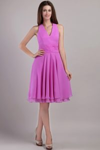 Beautiful Halter Top Knee-length Lavender Prom Dress with Ruches