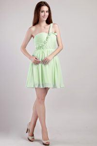 Yellow Green One Shoulder Junior Prom in Mini-length with Ruches for Summer