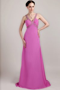 Fuchsia Beading and Ruching Prom Dress with V-neckline for Autumn