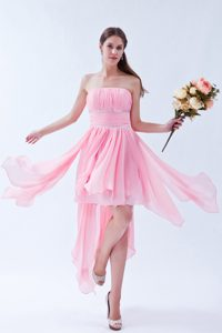 Dressy Empire Strapless Pink Prom Dress with Ruches and Beadings