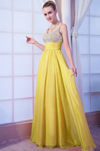 Clearance Yellow Empire Beading Prom Dress with Spaghetti Straps