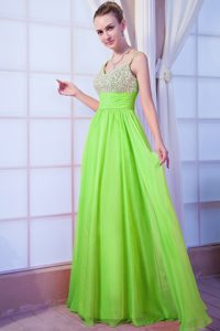 Classic V-neck Chiffon Junior Prom with Beadings and Straps in Spring Green