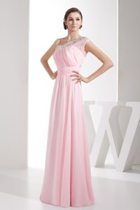 Pink One Shoulder Prom Graduation Dress with Beadings and Ruches