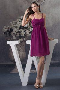 Pretty Ruched Dark Purple Prom Pageant Dress with Spaghetti Straps