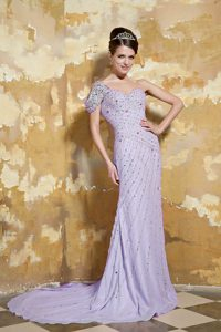 Lavender Sweetheart Prom Theme Dresses with Beads and Brush Train