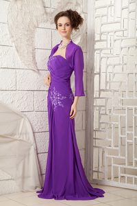 Sexy One Shoulder Purple Senior Prom with White Appliques