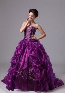 Eggplant Purple Quinceanera Dress for Custom Made with Pick-ups and Sweep Train