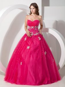 Hot Sweetheart Tulle Quinceanera Dresses with Appliques and Beading Decorated