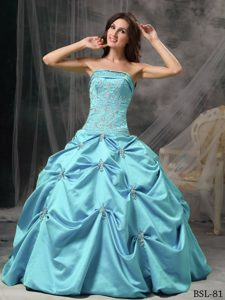 Modest Strapless Quinceanera Dress with Beading and Pick-ups on Sale