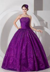 Purple A-line Sweetheart Tulle Ruched and Beaded Sweet 15 Quinceanera Dresses