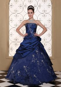 Exclusive Strapless Navy Blue Quinceanera Dress with Embroidery on Promotion