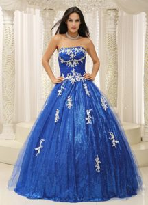 Royal Blue A-line Quinceanera Dresses with Appliques and Paillette over Skirt