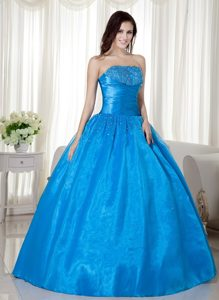 Blue Ball Gown Strapless Sweet 16 Quinceanera Dresses with Beading